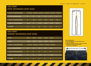 Complete Size chart for Resurgence gear Jeans - motorcycle jeans for men & women