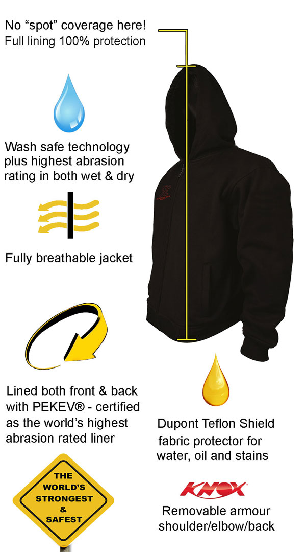 Motorcycle Armored Hoodie NZ - Black & Red - fully PEKEV® lined - Features