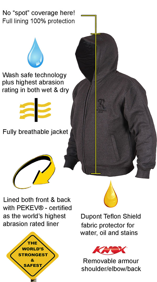 Motorcycle Armored Hoodie NZ - Charcoal - fully PEKEV® lined - Features