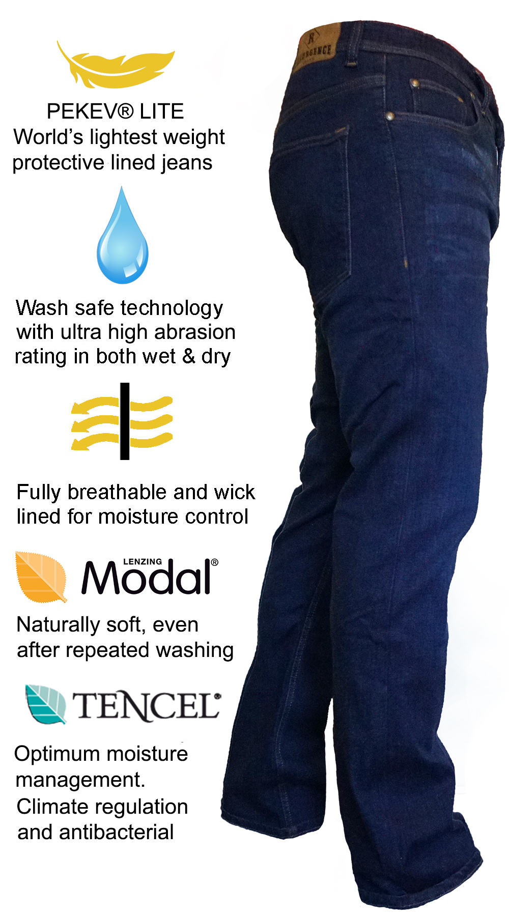 PEKEV lite jeans - protective motorcycle clothing - Features