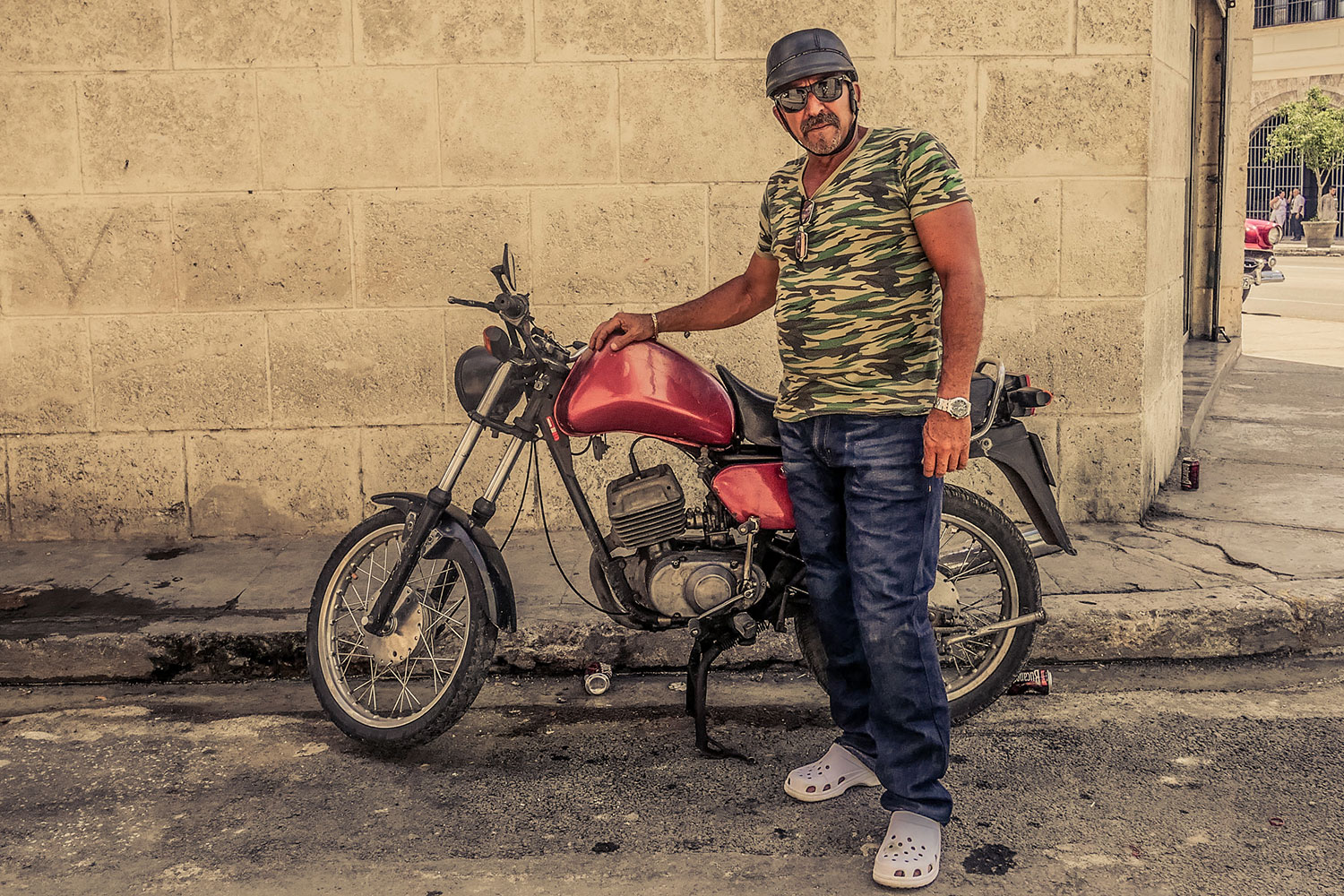 Cuban guy in Resurgence Gears, Pekev® Lite, Dark Blue motorcycle jeans - Picture by Dean Saffron 3
