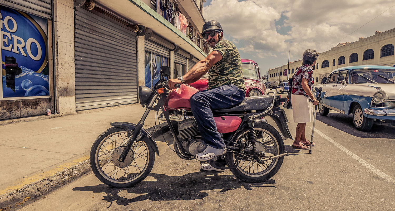 Cuban guy in Resurgence Gears, Pekev® Lite, Dark Blue motorcycle jeans - Picture by Dean Saffron